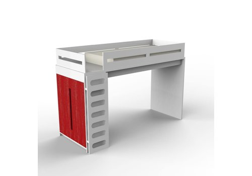 Duc Duc Duc Duc Alex Loft Bed In White/Red Cerused