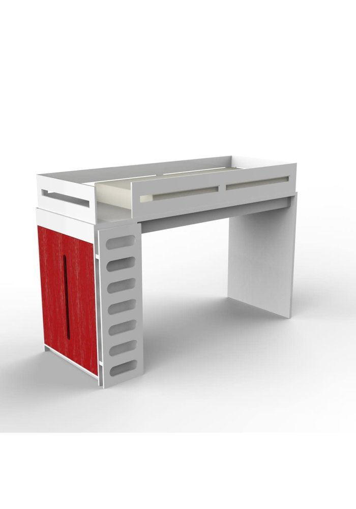 Duc Duc Alex Loft Bed In White/Red Cerused