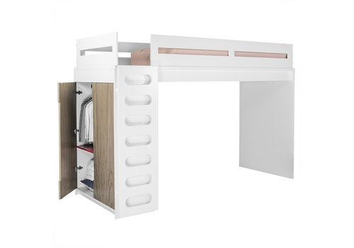Duc Duc Duc Duc Alex Loft Bed In White/Bleached Walnut