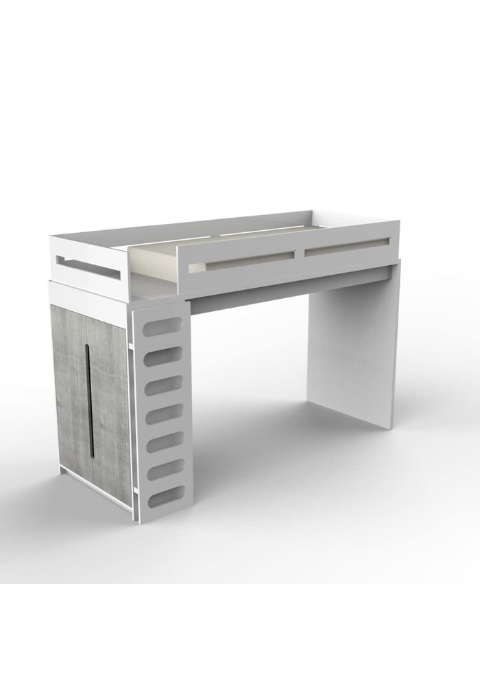 Duc Duc Alex Loft Bed In White/Weathered