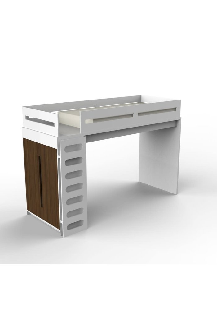 Duc Duc Alex Loft Bed In White/Stained Walnut