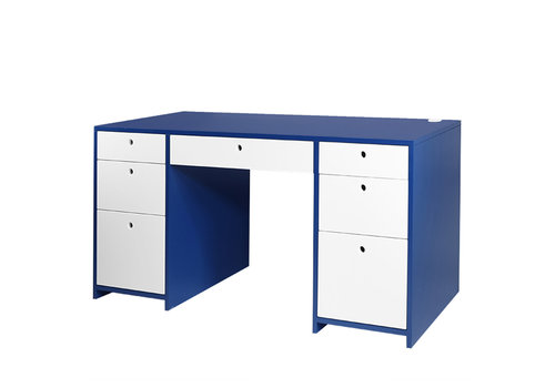 Duc Duc Duc Duc Alex Doublewide Desk In Downpour Blue/China White