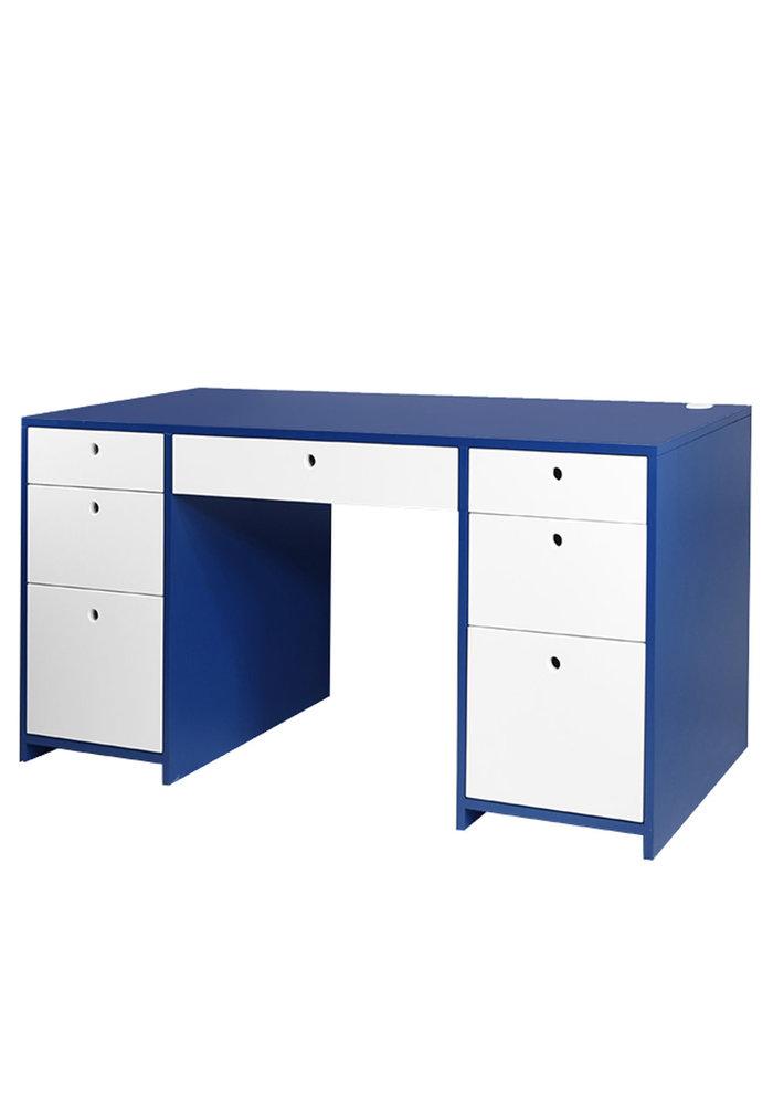Duc Duc Alex Doublewide Desk In Downpour Blue/China White