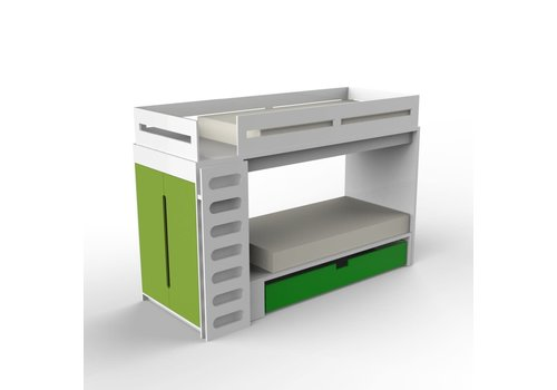Duc Duc Duc Duc Alex Bunk Bed Twin Over Twin In White/Green