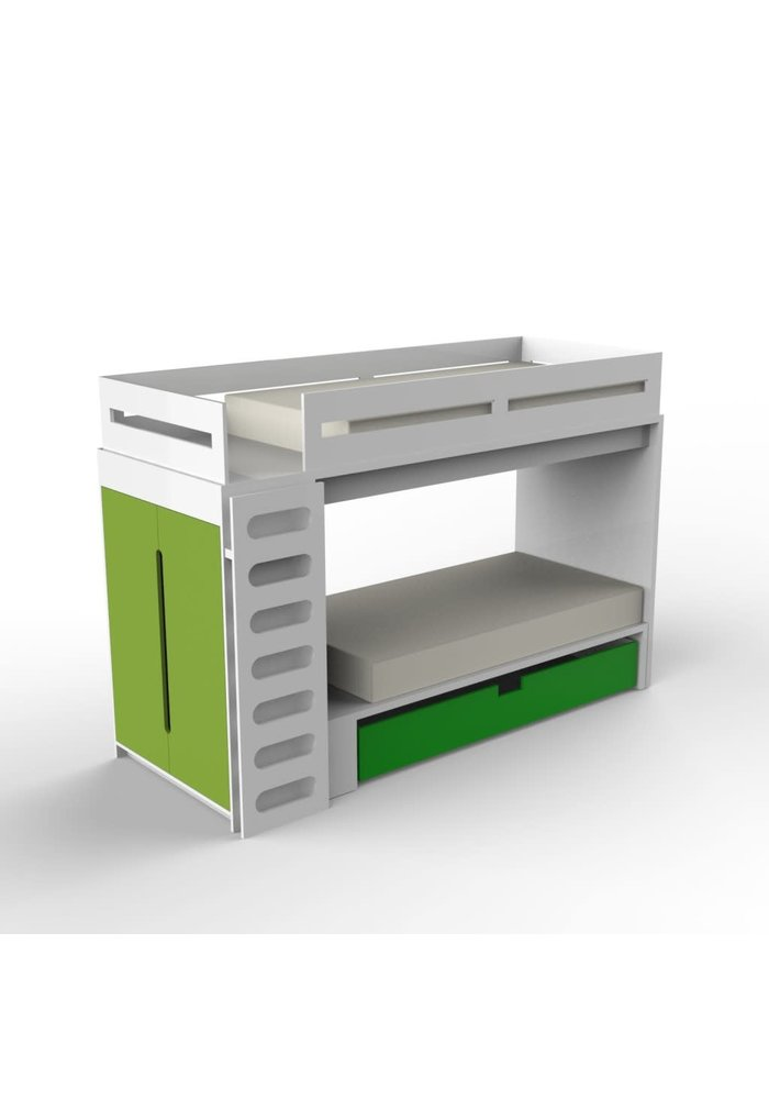 Duc Duc Alex Bunk Bed Twin Over Twin In White/Green