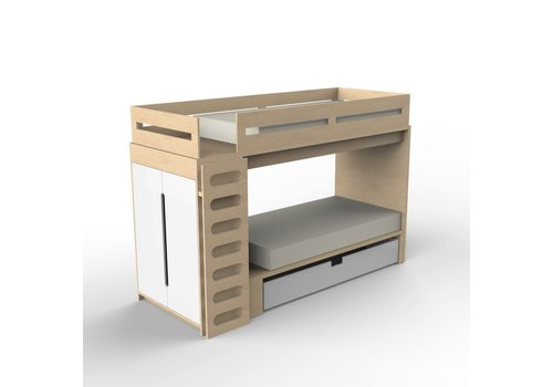 Duc Duc Duc Duc Alex Bunk Bed Twin Over Twin In Maple/White
