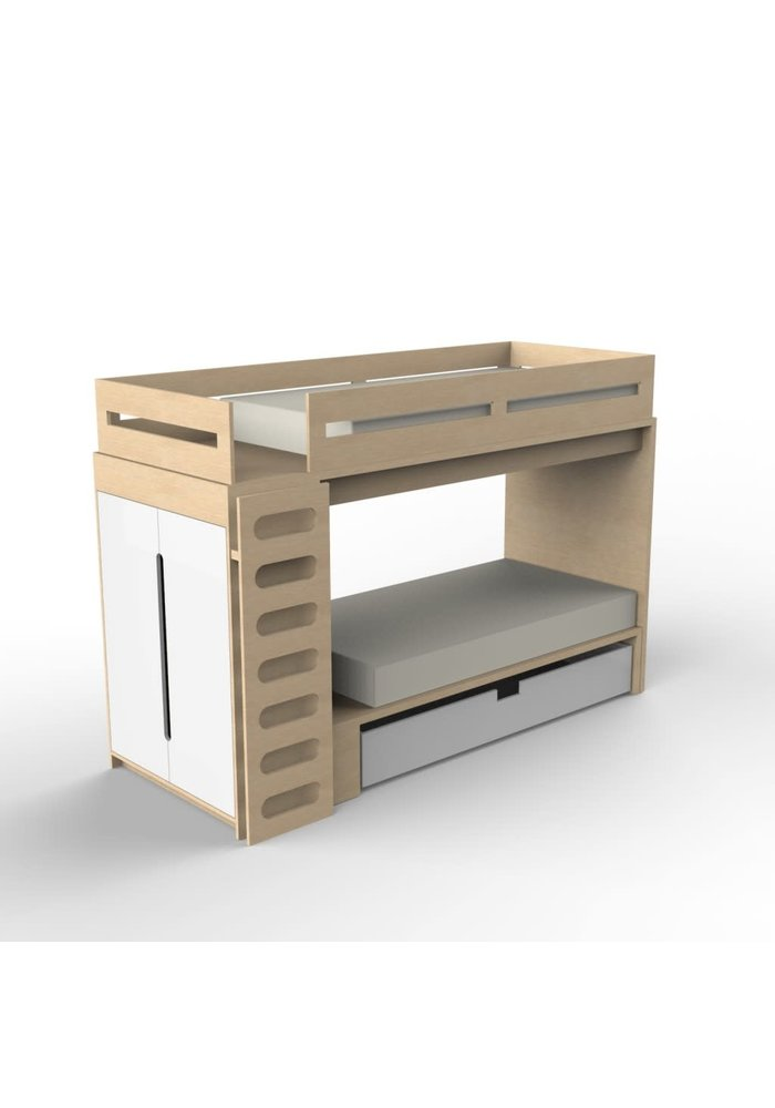 Duc Duc Alex Bunk Bed Twin Over Twin In Maple/White