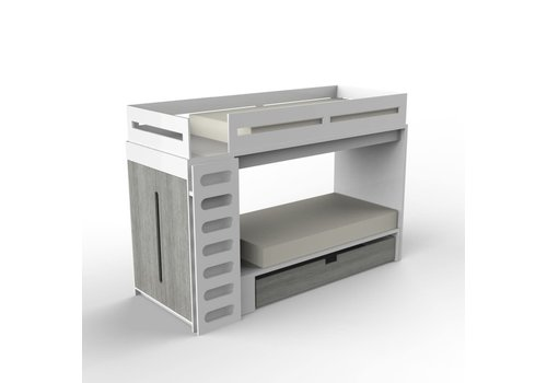 Duc Duc Duc Duc Alex Bunk Bed Twin Over Twin In White/Weathered