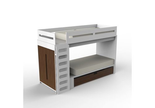 Duc Duc Duc Duc Alex Bunk Bed Twin Over Twin In White/Natural Walnut