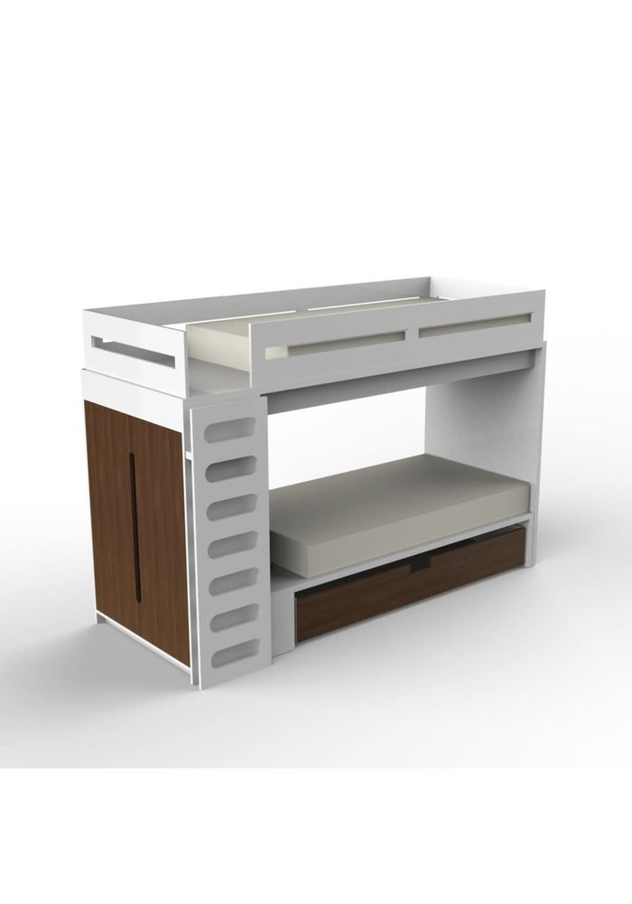 Duc Duc Alex Bunk Bed Twin Over Twin In White/Natural Walnut