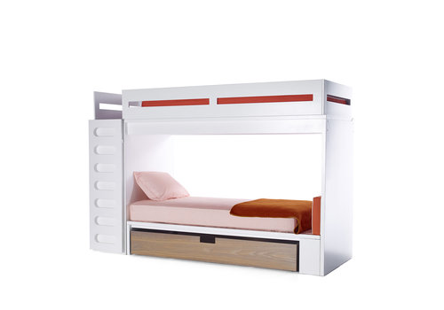 Duc Duc Duc Duc Alex Bunk Bed Twin Over Twin In White/Bleached Walnut