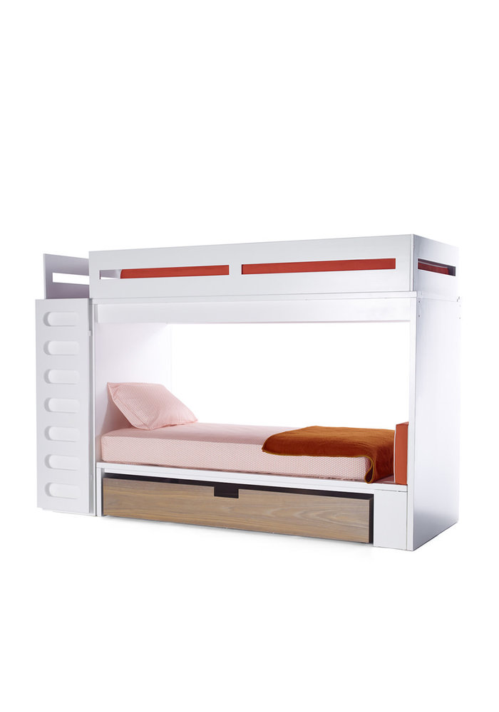 Duc Duc Alex Bunk Bed Twin Over Twin In White/Bleached Walnut