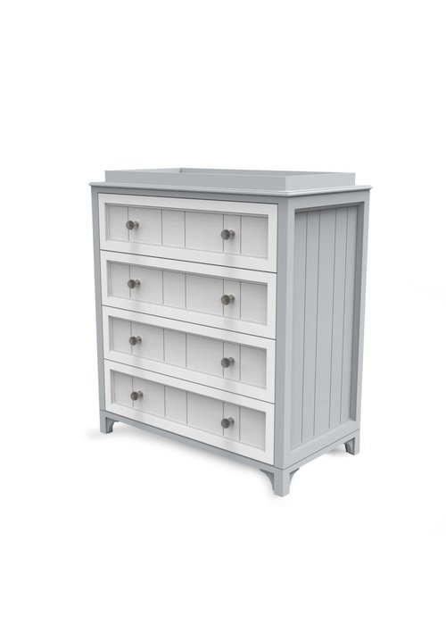 Duc Duc Duc Duc Stonington 4 Drawer Changer In Light Gray/White
