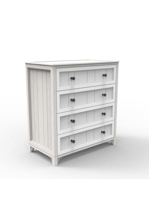 Duc Duc Duc Duc Stonington 4 Drawer Dresser In Solid Color Glaze Silver On Oak//White