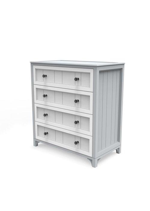 Duc Duc Duc Duc Stonington 4 Drawer Dresser In Light Gray/White