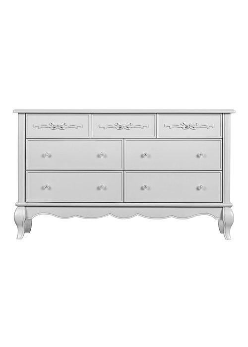 Evolur Baby Aurora Double Dresser In Akoya Grey Pearl /Silver Mist