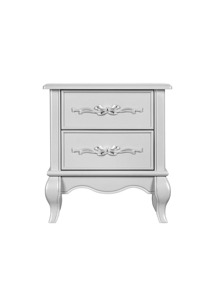 Evolur Baby Aurora Night Stand In Akoya Grey (Pearl) / Silver Mist