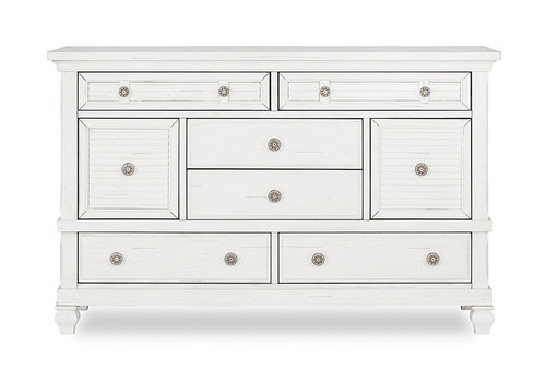 Evolur Baby Cape May Double Dresser In Weathered White
