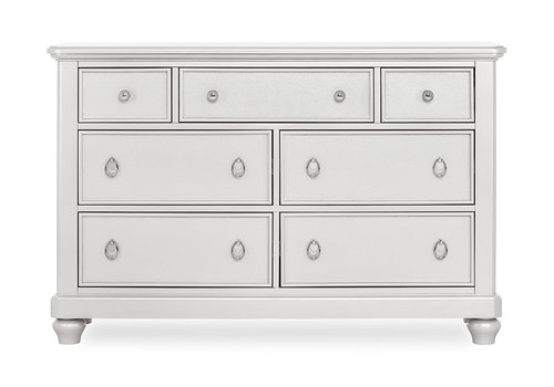 Evolur Baby Glam Double Dresser In Silver Pearl Shimmer