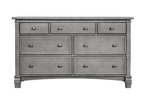 Evolur Baby Santa Fe Double Dresser In Storm Grey/Steel Gray