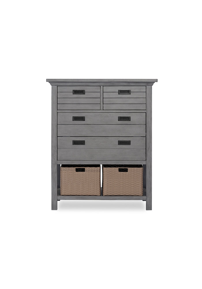 Evolur Baby Waverly Tall Chest With Baskets In Rustic Grey