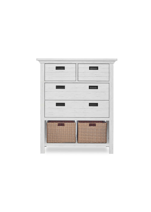 Evolur Baby Waverly Tall Chest With Baskets In Weathered White