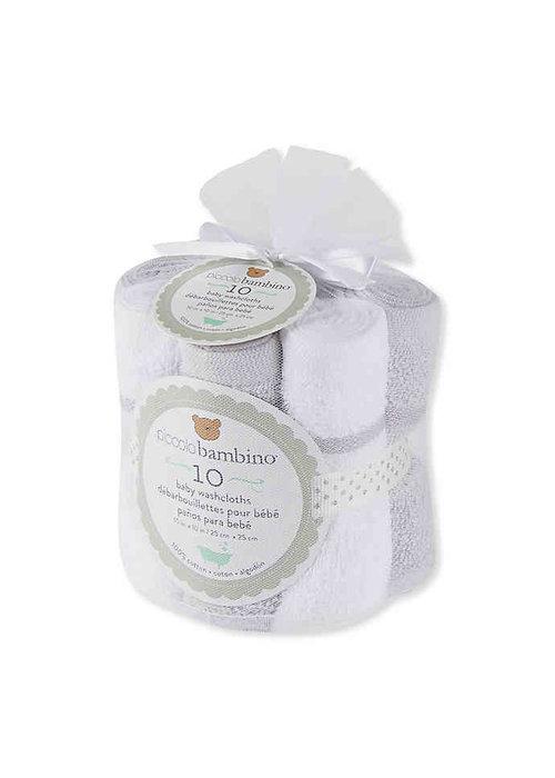 Piccolino Bambino 10 Pk Large Hemmed Washcloths Unisex