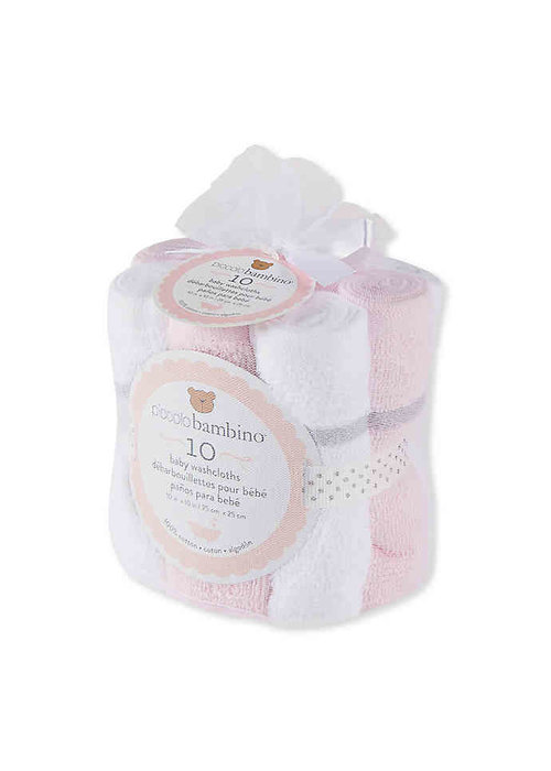 Piccolino Bambino 10 Pk Large Hemmed Washcloths Girl