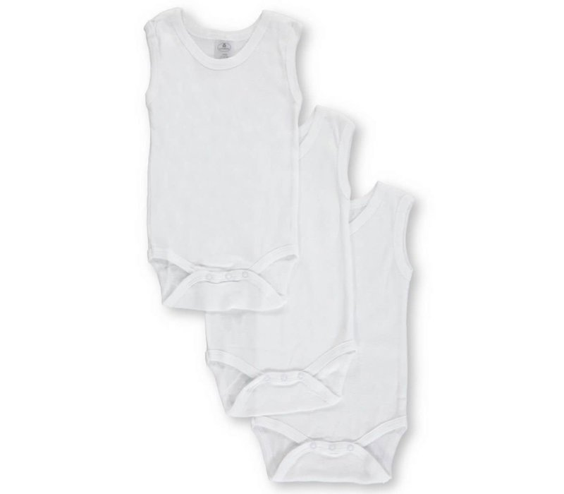 Big Oshi 3 Pc Body Suits Sleeveless 0-3 In White