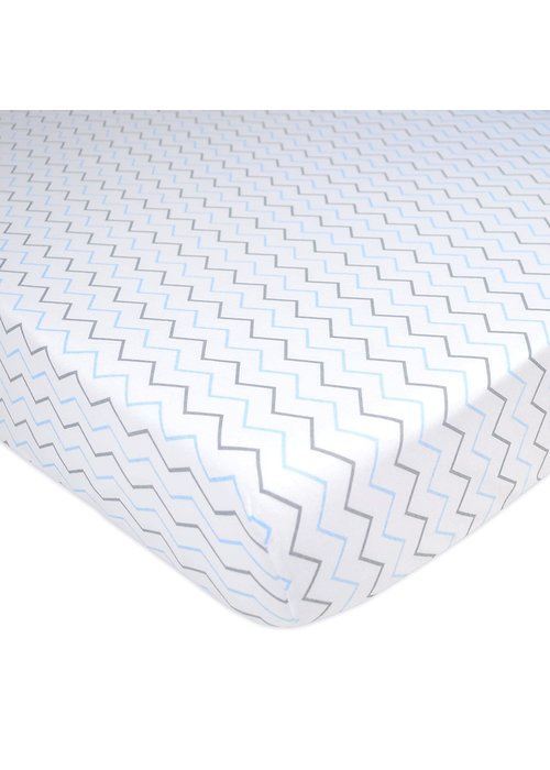 American Baby American Baby Percale Crib Sheet In Blue Zig Zag- Chevron