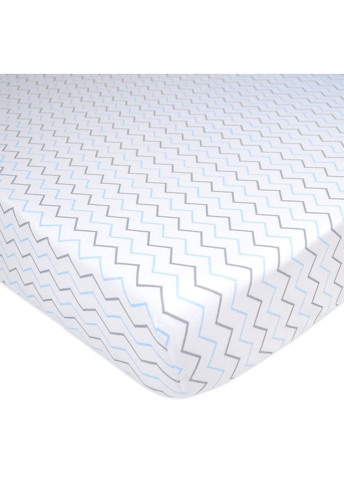 American Baby Percale Crib Sheet In Blue Zig Zag- Chevron