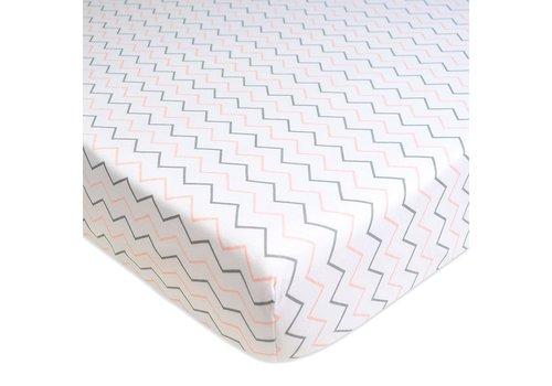 American Baby American Baby Percale Crib Sheet In Pink Zig Zag- Chevron
