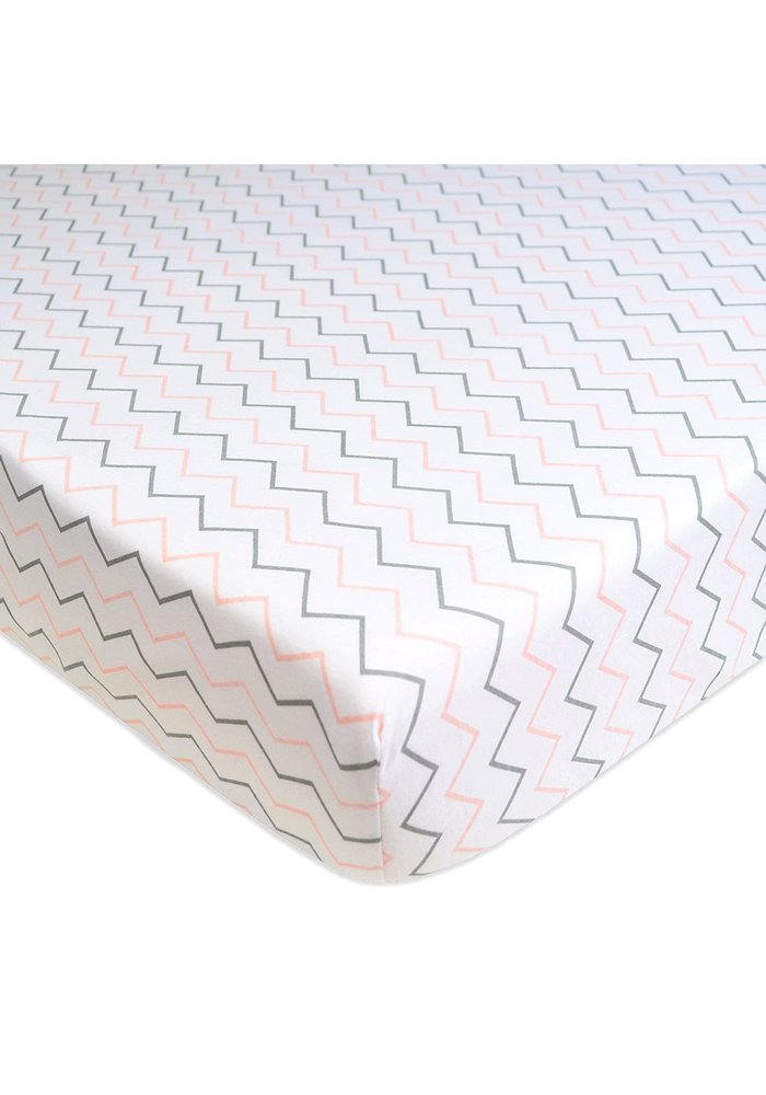 American Baby Percale Crib Sheet In Pink Zig Zag- Chevron