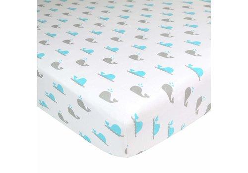 American Baby American Baby Knit Crib Sheet In Aqua Whale