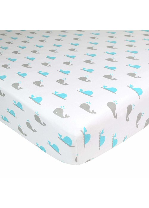 American Baby American Baby Knit Crib Sheet In Aqua Whale