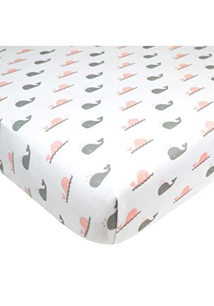 American Baby Knit Crib Sheet In Pink Whale