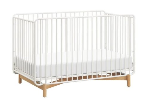 Baby Letto Baby Letto Bixby 3-in-1 Convertible Metal Crib With Toddler Bed Conversion Kit In Warm White-Natural Beech