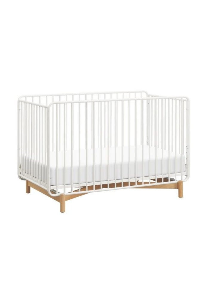 Baby Letto Bixby 3-in-1 Convertible Metal Crib With Toddler Bed Conversion Kit In Warm White-Natural Beech