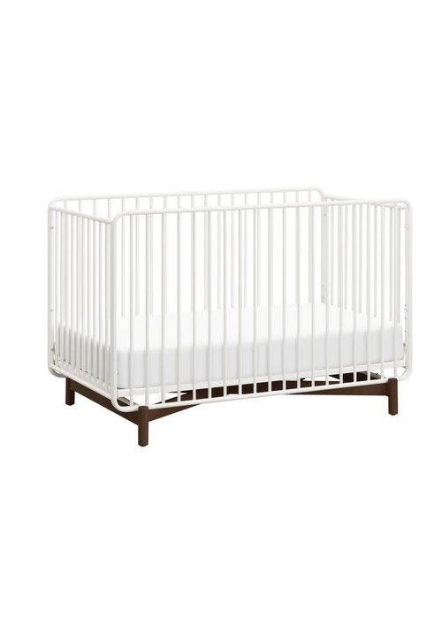 Baby Letto Baby Letto Bixby 3-in-1 Convertible Metal Crib With Toddler Bed Conversion Kit In Warm White-Walnut Stain