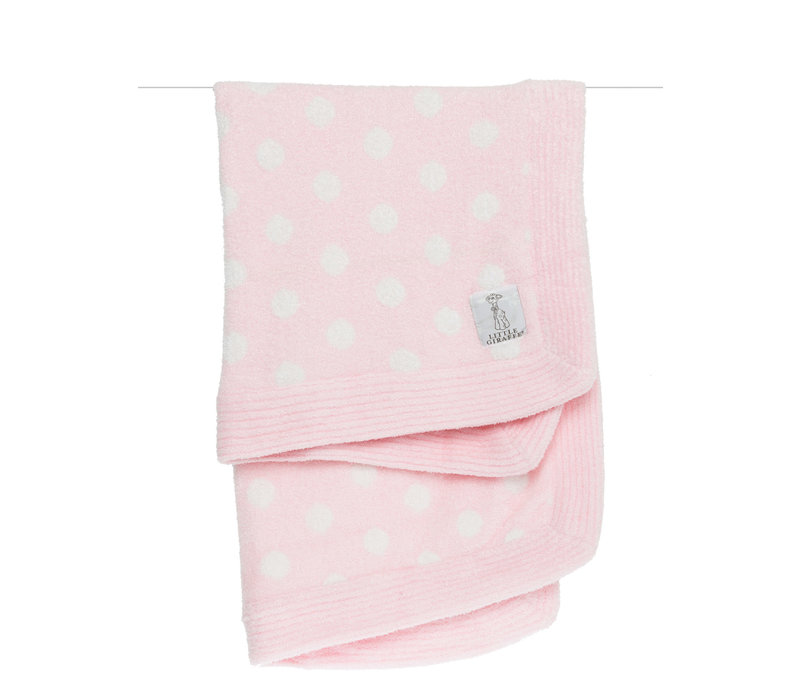 Little Giraffe Dolce Dot Blanket In Pink