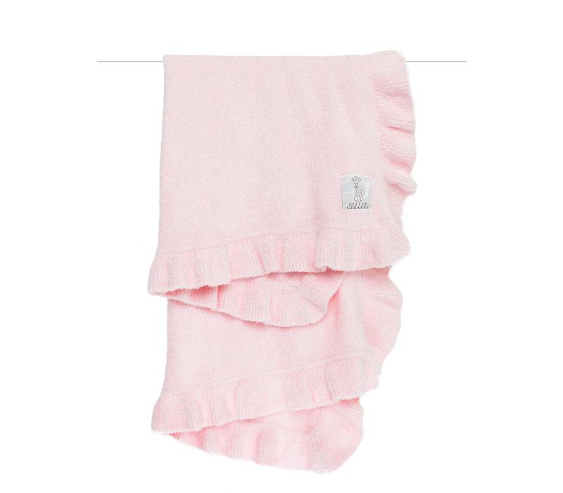 Little Giraffe Dolce Ruffle Blanket in Pink