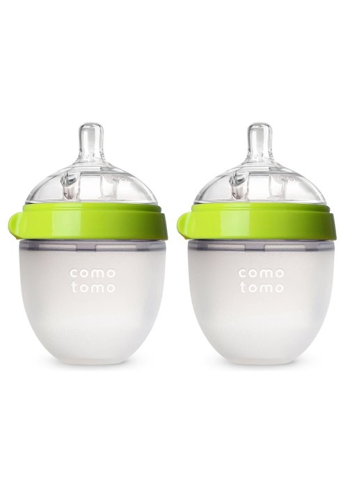 Comotomo Comotomo Baby Bottle, Green, 5 Ounce (2 Pack)