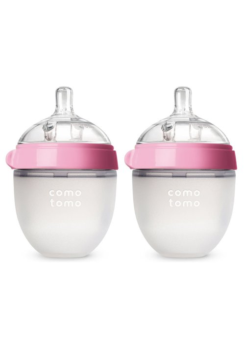 Comotomo Comotomo Baby Bottle, Pink, 5 Ounce (2 Pack)