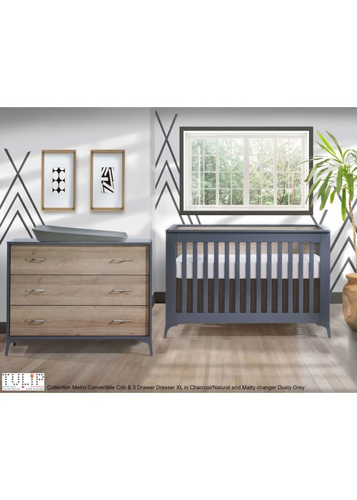 Tulip Tulip Juvenile Metro Convertible Crib With 3 Drawer Dresser XL In Charcoal/Natural