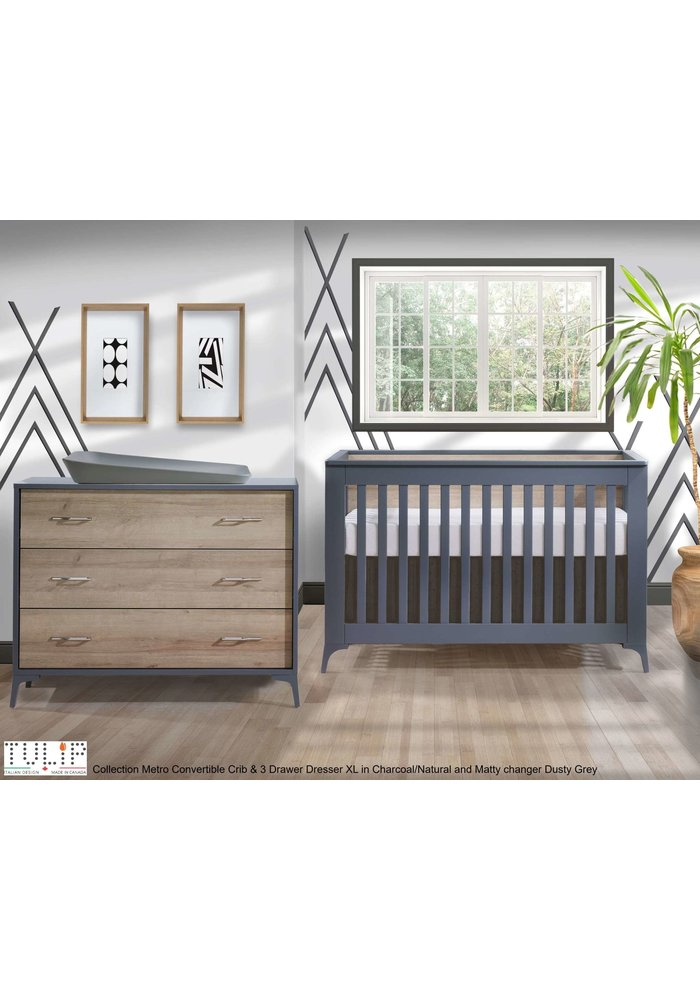 Tulip Juvenile Metro Convertible Crib With 3 Drawer Dresser XL In Charcoal/Natural