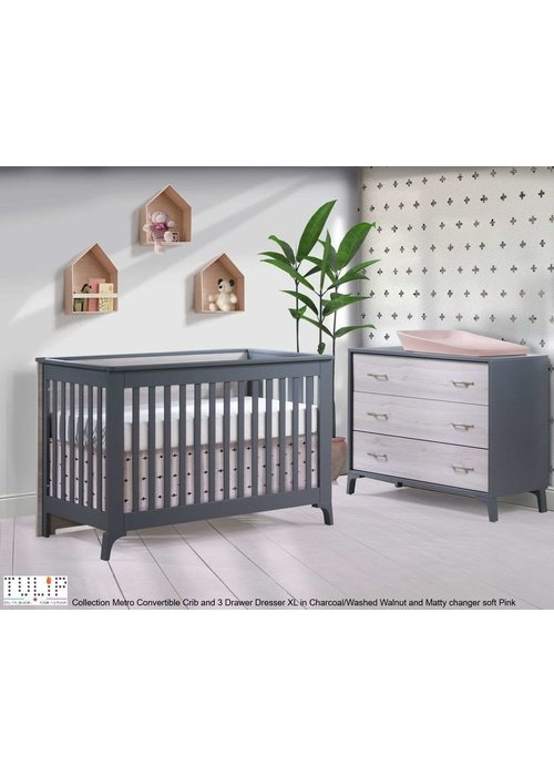 Tulip Tulip Juvenile Metro Convertible Crib With 3 Drawer Dresser XL In Charcoal/Washed Walnut