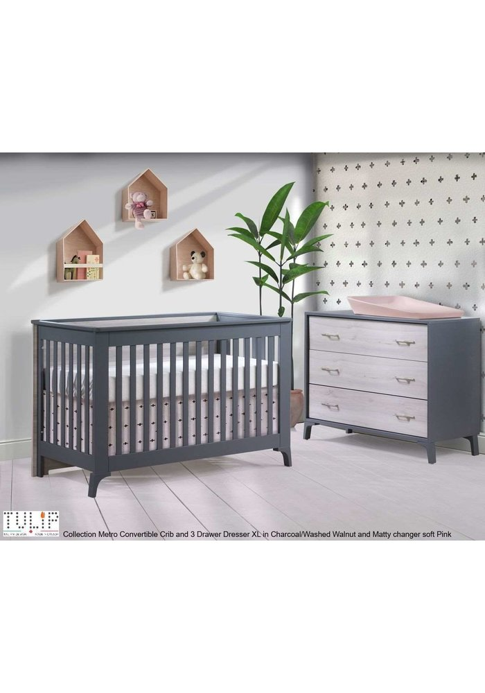 Tulip Juvenile Metro Convertible Crib With 3 Drawer Dresser XL In Charcoal/Washed Walnut