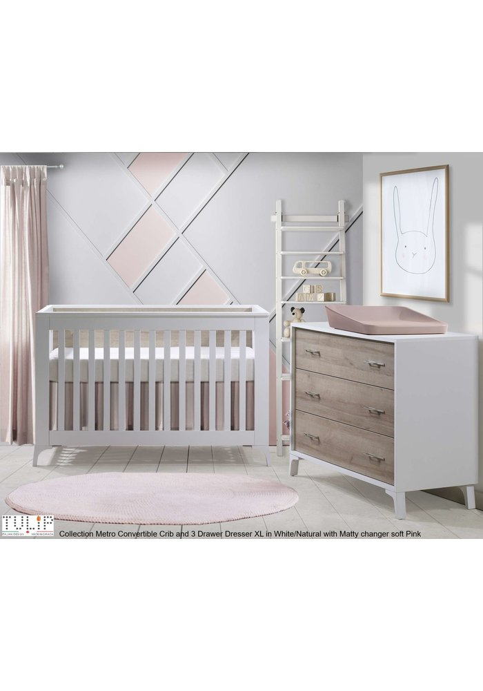Tulip Juvenile Metro Convertible Crib With 3 Drawer Dresser XL In White/Natural