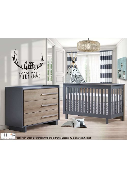 Tulip Tulip Juvenile Urban Convertible Crib With 3 Drawer Dresser XL In Charcoal/Natural