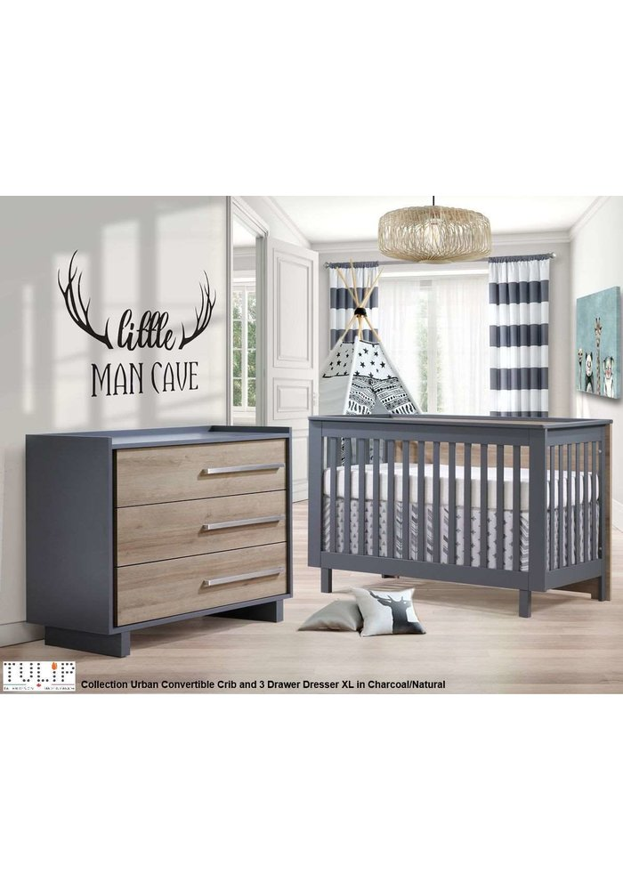 Tulip Juvenile Urban Convertible Crib With 3 Drawer Dresser XL In Charcoal/Natural